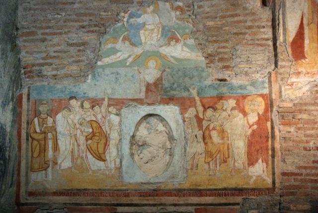 Affresco dell'Ascensione di Nostro Signore Gesù Cristo (IX secolo d.C., Basilica di San Clemente al Laterano in Roma)