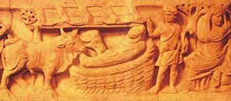 Natività e Adorazione dei Magi, particolare su sarcofago (IV secolo, Musei Vaticani, Roma)